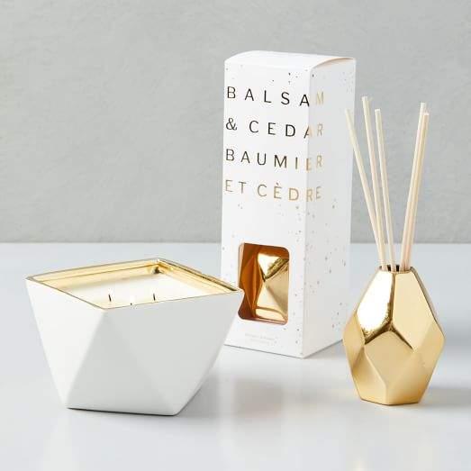 Geo Metallic Candle - Balsam + Cedar
