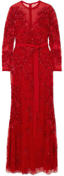 Embellished Tulle Gown - Red