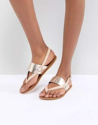 Warehouse Metallic Leather Flat Sandals