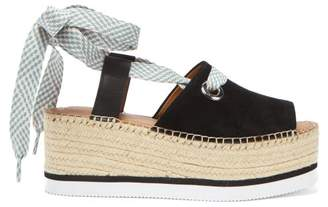 0a3d5c65cfc4 See by Chloe Lace Up Suede Flatform Espadrilles - Womens - Black
