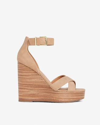 Express Faux Leather Ankle Strap Wedge Sandals