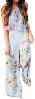 Funic Summer Women Floral Print Sleeveless Backless Jumpsuit Long Wide Leg Trousers (XL, )