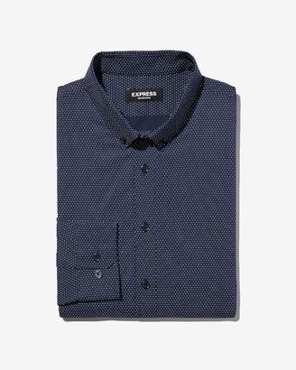 Express Extra Slim Polka Dot Print Wrinkle-Resistant Performance Dress Shirt