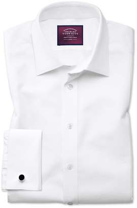 Charles Tyrwhitt Slim Fit Luxury Marcella Bib Front White Tuxedo Egyptian Cotton Dress Shirt French Cuff Size 15.5/35