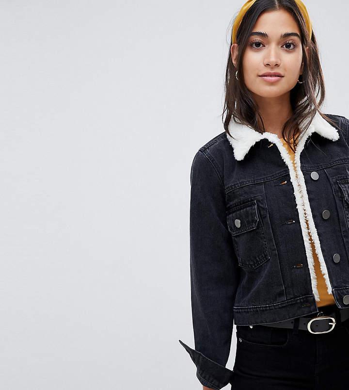 ASOS Petite ASOS DESIGN Petite denim shrunken jacket with fleece collar in washed black