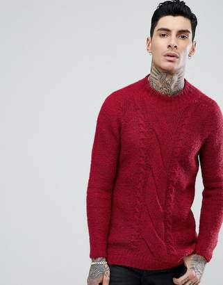 Asos Cable Knit Mohair Wool Blend Jumper In Red