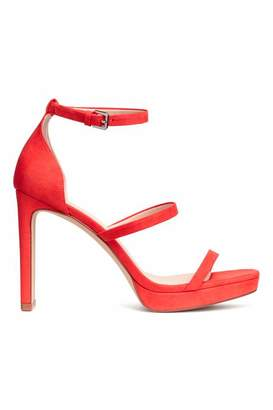 H&M Platform Sandals - Bright red - Women