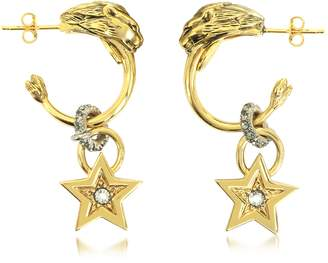 Roberto Cavalli Circus Golden Metal Earrings w/Crystals
