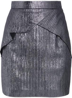Roland Mouret Rocko Metallic Lurex Mini Skirt - Silver