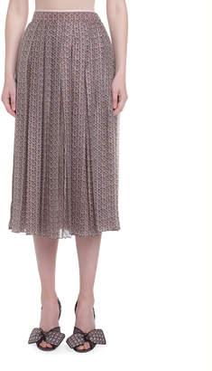 Fendi Printed Silk Pleated Skirt