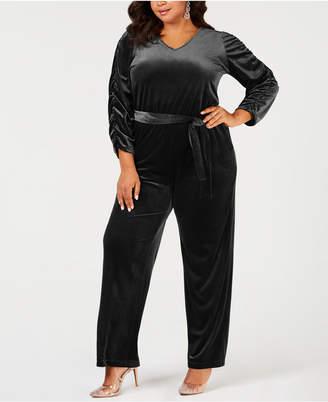 91e0b05c93e NY Collection Plus Size Belted Velvet Jumpsuit