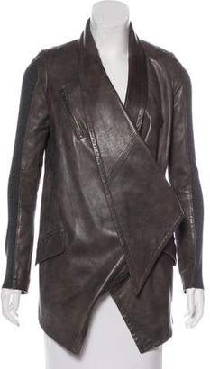 Yigal Azrouel Leather Knit-Accented Jacket