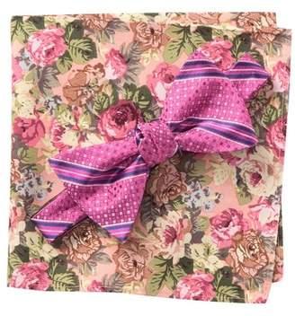 BROLETTO Flano Stripe Bow Tie & Pocket Square Set