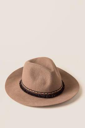 francesca's Chelsea Embroidered Band Panama Hat - Camel