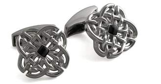 Tateossian Celtic Stone Silver Cufflinks In Black Rhodium And Onyx