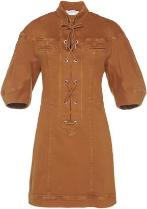Alberta Ferretti Stretch Denim Safari Lace Up Dress