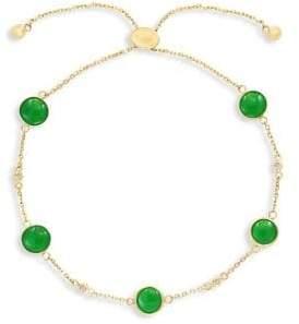 Effy 14K Yellow Gold Diamond Green Jade Bolo Bracelet