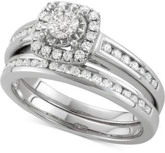 Macy's Diamond Halo Channel-Set Bridal Set (3/4 ct. t.w.) in 14k White Gold