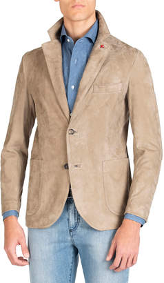 Isaia Men's Lamb Suede Two-Button Jacket