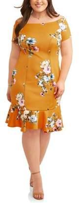 Paperdoll Women's Plus Floral Print Off Shoulder Fluted Skirt Dress