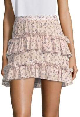 LoveShackFancy Lily Floral-Print Ruffle Mini Skirt