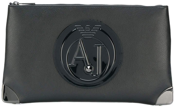 Armani Jeans logo plaque zip clutch