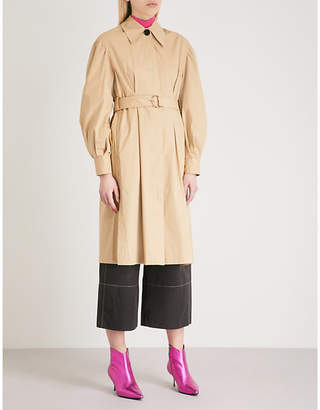 Mo&Co. Puffed-sleeve cotton trench coat