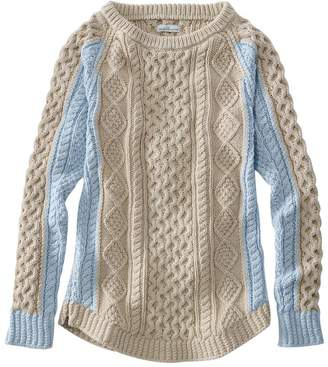 L.L. Bean L.L.Bean Women's Signature Cotton Fisherman Tunic Sweater, Colorblocked