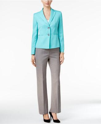 Le Suit Colorblocked Two-Button Pantsuit $200 thestylecure.com