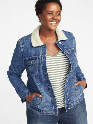 Old Navy Sherpa-Lined Plus-Size Denim Jacket