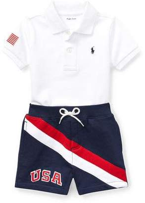Ralph Lauren USA Short-Sleeve Polo w/ Matching Shorts, Size 9-24 Months
