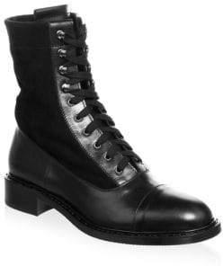 Aquatalia Brigitta Suede and Leather Lace-Up Boots