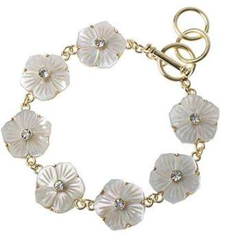 Mother of Pearl The Jewellery Factory and Crystal Flower Gold Colour Bracelet of 22.0cm