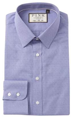 Thomas Pink Eno Textured Solid Super Slim Fit Dress Shirt