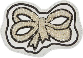 Embroidered pearl bow leather appliqué $350 thestylecure.com