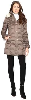 Betsey Johnson Quilted Puffer w/ Fur Hood Women's Coat
