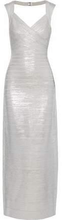 Estrella Cutout Metallic Coated Bandage Gown