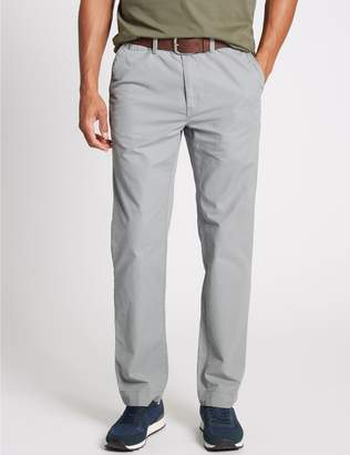 Marks and Spencer Straight Fit Pure Cotton Chinos with Belt