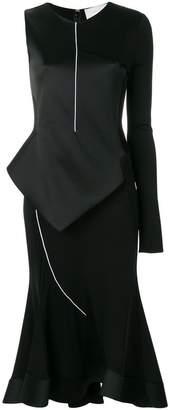 Esteban Cortazar contrast sleeve peplum dress
