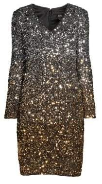 Aidan Mattox Ombre Sequin Cocktail Dress
