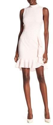 Betsey Johnson Pebble Crepe Mock Neck Polkadot Dress