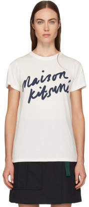 MAISON KITSUNÉ White Handwriting Logo T-Shirt