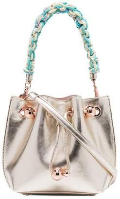 Sophia Webster champagne metallic Romy mini leather bucket bag