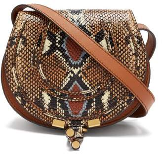 Chloé Marcie Mini Python Effect Leather Cross Body Bag - Womens - Multi