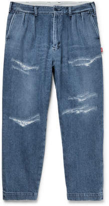 Beams Cropped Distressed Denim Jeans