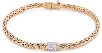 John Hardy Diamond 18k yellow gold slim woven chain bracelet