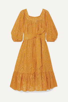 Lisa Marie Fernandez Laura Broderie Anglaise Cotton Midi Dress - Orange