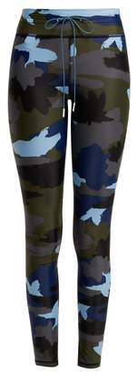The Upside Camouflage Print Leggings - Womens - Blue Multi