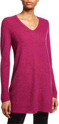 Eileen Fisher Plus Size Textured Wool Crepe V-Neck Sweater