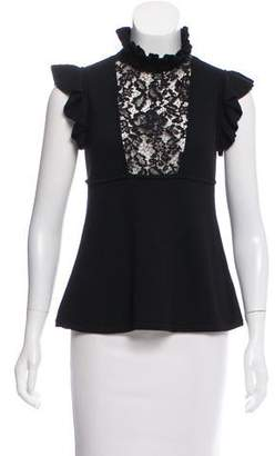Elie Saab Knit Lace-Paneled Top